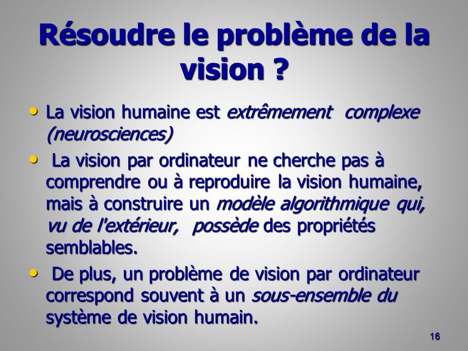 Résoudre le problème de la vision .