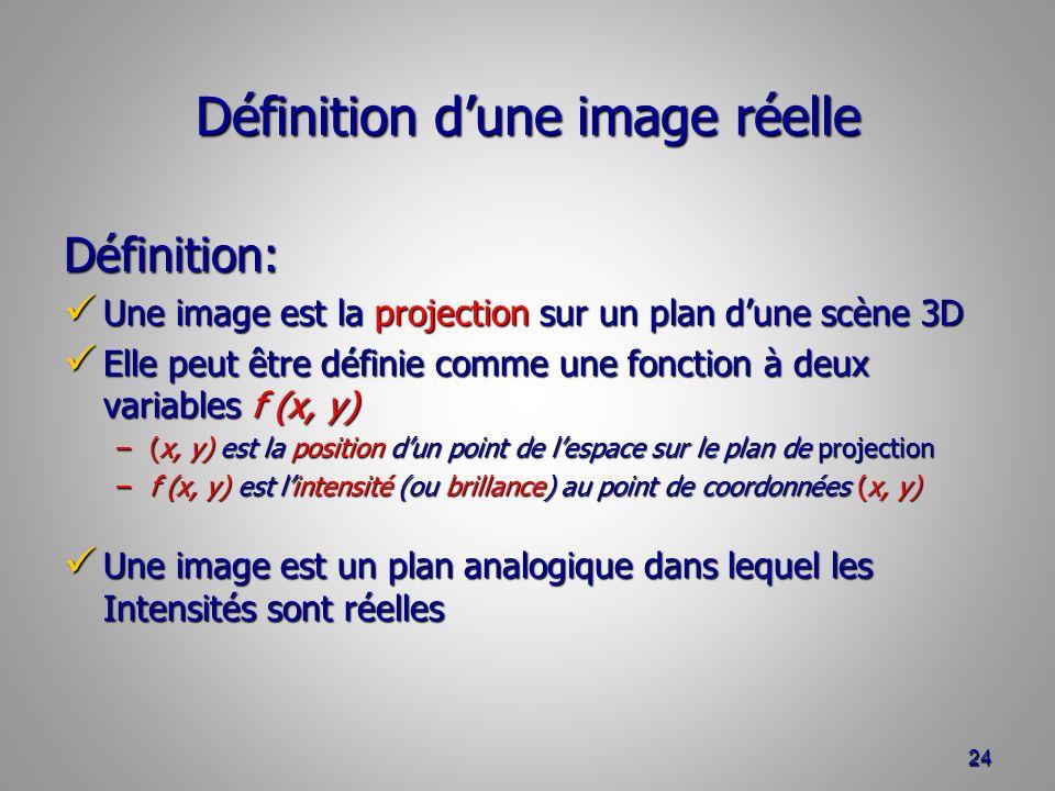 Définition dune image réelle Définition: Une image est la projection sur un plan dune scène 3D Une image est la projection sur un plan dune scène 3D Elle peut être définie comme une fonction à deux variables f (x, y) Elle peut être définie comme une fonction à deux variables f (x, y) –(x, y) est la position dun point de lespace sur le plan de projection –f (x, y) est lintensité (ou brillance) au point de coordonnées (x, y) Une image est un plan analogique dans lequel les Intensités sont réelles Une image est un plan analogique dans lequel les Intensités sont réelles 24