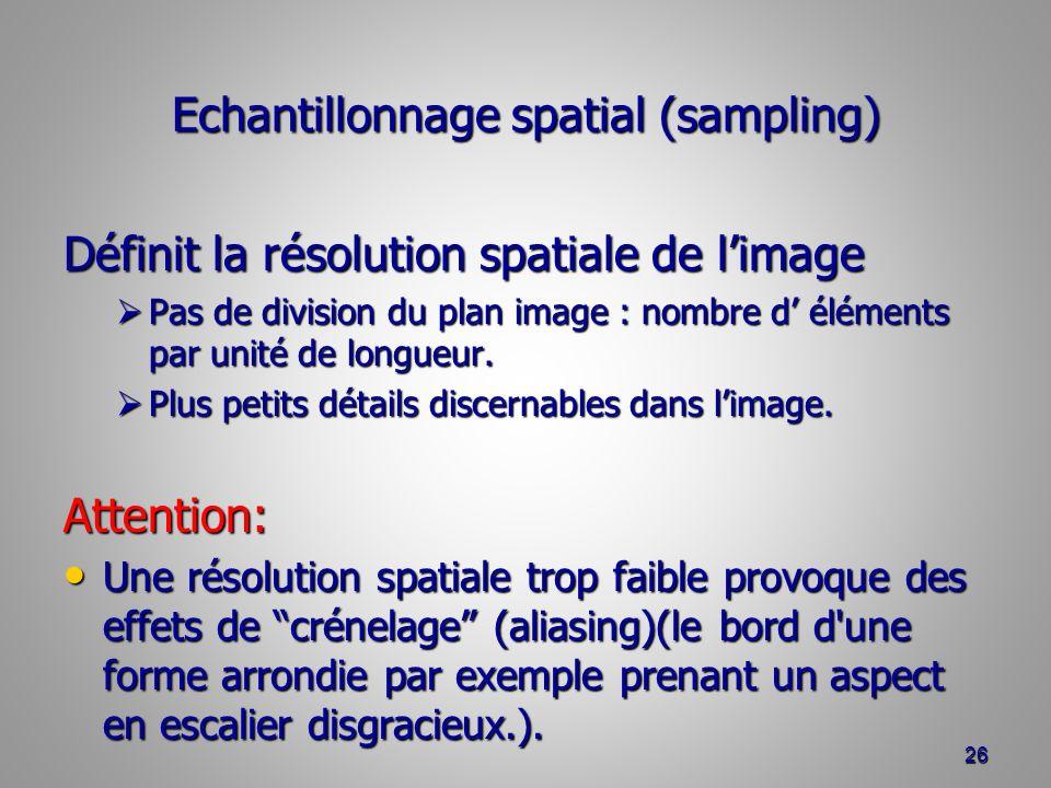 Echantillonnage spatial (sampling) Définit la résolution spatiale de limage Pas de division du plan image : nombre d éléments par unité de longueur.