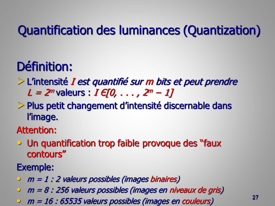 Quantification des luminances (Quantization) Définition: Lintensité I est quantifié sur m bits et peut prendre L = 2 m valeurs : I Є[0,..., 2 m 1] Lintensité I est quantifié sur m bits et peut prendre L = 2 m valeurs : I Є[0,..., 2 m 1] Plus petit changement dintensité discernable dans limage.