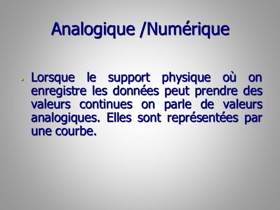 Analogique /Numérique Lorsque le support physique où on enregistre les données peut prendre des valeurs continues on parle de valeurs analogiques.