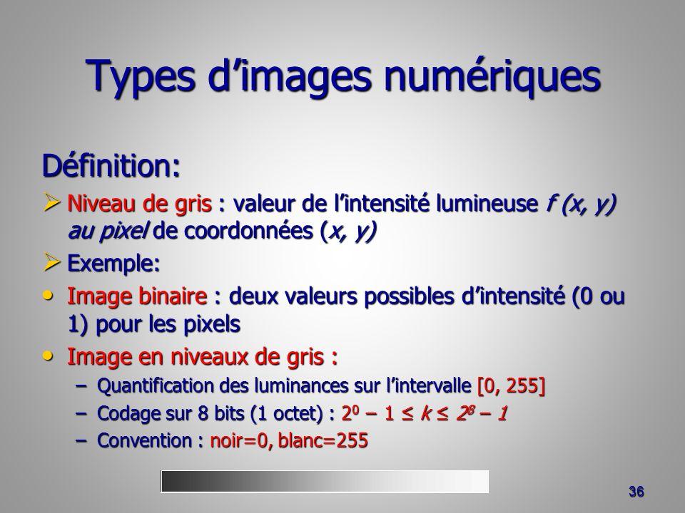 Types dimages numériques Définition: Niveau de gris : valeur de lintensité lumineuse f (x, y) au pixel de coordonnées (x, y) Niveau de gris : valeur de lintensité lumineuse f (x, y) au pixel de coordonnées (x, y) Exemple: Exemple: Image binaire : deux valeurs possibles dintensité (0 ou 1) pour les pixels Image binaire : deux valeurs possibles dintensité (0 ou 1) pour les pixels Image en niveaux de gris : Image en niveaux de gris : –Quantification des luminances sur lintervalle [0, 255] –Codage sur 8 bits (1 octet) : 2 0 1 k 2 8 1 –Convention : noir=0, blanc=255 36