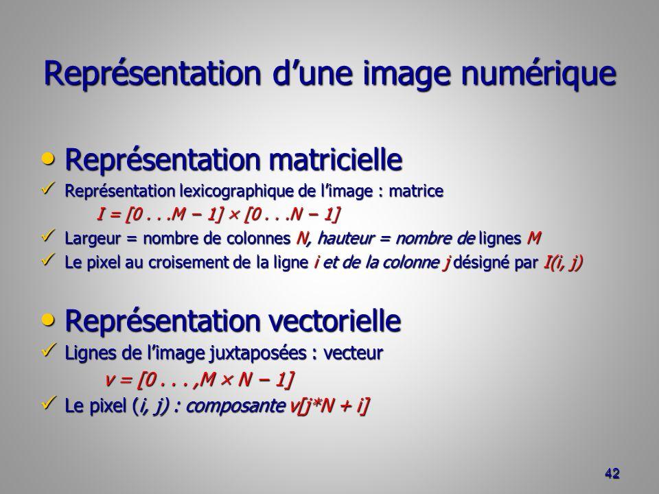 Représentation dune image numérique Représentation matricielle Représentation matricielle Représentation lexicographique de limage : matrice Représentation lexicographique de limage : matrice I = [0...M 1] × [0...N 1] I = [0...M 1] × [0...N 1] Largeur = nombre de colonnes N, hauteur = nombre de lignes M Largeur = nombre de colonnes N, hauteur = nombre de lignes M Le pixel au croisement de la ligne i et de la colonne j désigné par I(i, j) Le pixel au croisement de la ligne i et de la colonne j désigné par I(i, j) Représentation vectorielle Représentation vectorielle Lignes de limage juxtaposées : vecteur Lignes de limage juxtaposées : vecteur v = [0...,M × N 1] v = [0...,M × N 1] Le pixel (i, j) : composante v[j*N + i] Le pixel (i, j) : composante v[j*N + i] 42