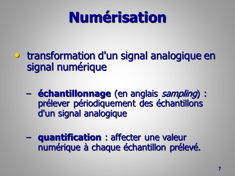 Numérisation transformation d un signal analogique en signal numérique transformation d un signal analogique en signal numérique –échantillonnage (en anglais sampling) : prélever périodiquement des échantillons d un signal analogique –quantification : affecter une valeur numérique à chaque échantillon prélevé.