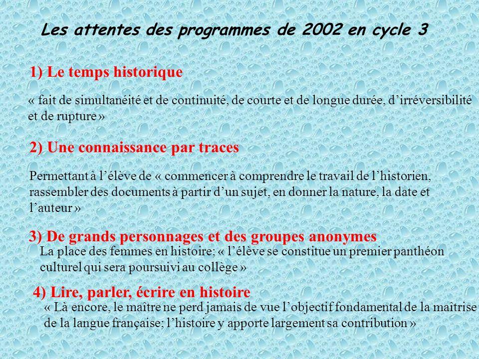 Les attentes des programmes de 2002 en cycle 3 1) Le temps historique 2) Une connaissance par traces 3) De grands personnages et des groupes anonymes