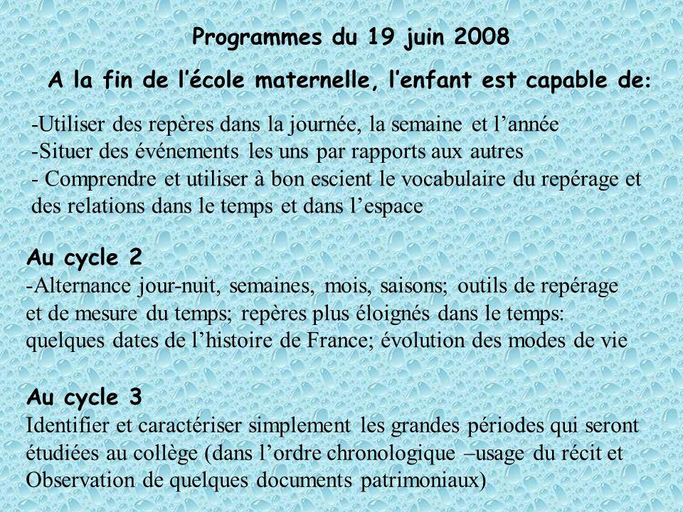 Programmes du 19 juin 2008 A la fin de lécole maternelle, lenfant est capable de : -Utiliser des repères dans la journée, la semaine et lannée -Situer