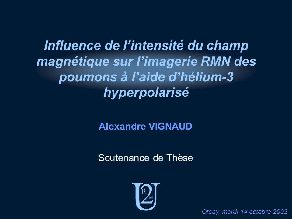 U 2 R M Soutenance de Thèse Alexandre VIGNAUD Orsay, mardi 14 octobre 2003 Influence de lintensité du champ magnétique sur limagerie RMN des poumons à