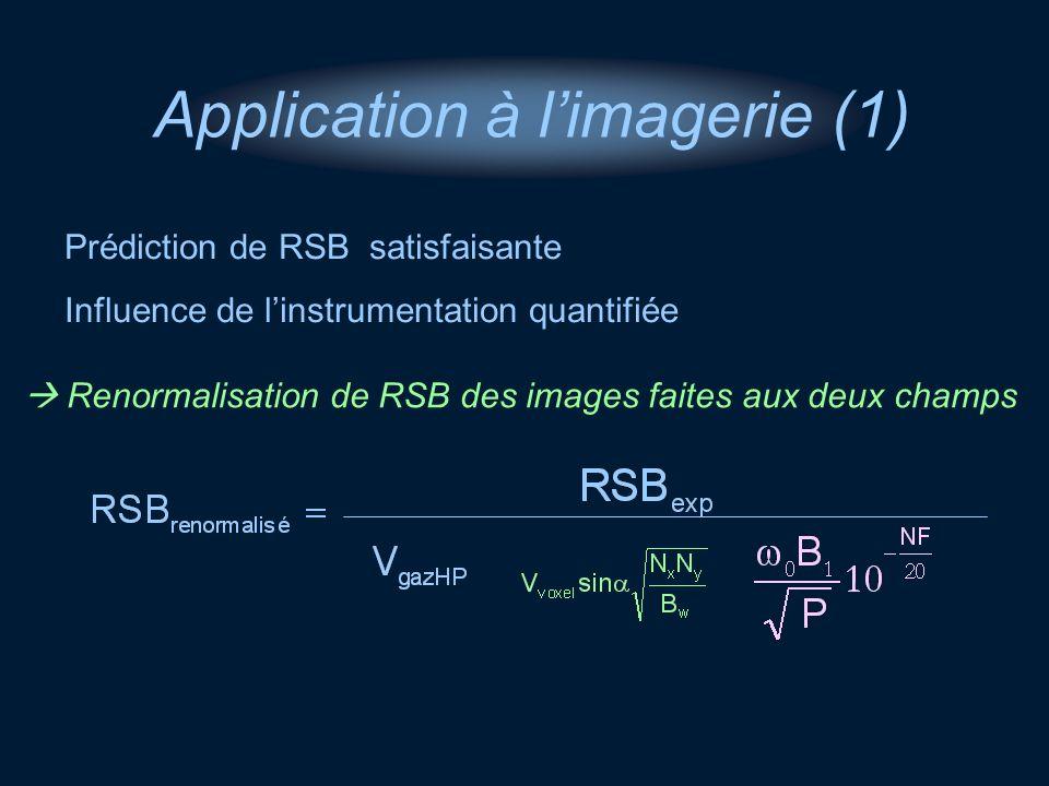 Application à limagerie (1) Prédiction de RSB satisfaisante Influence de linstrumentation quantifiée Renormalisation de RSB des images faites aux deux