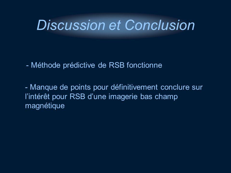 - Méthode prédictive de RSB fonctionne Discussion et Conclusion - Manque de points pour définitivement conclure sur lintérêt pour RSB dune imagerie ba