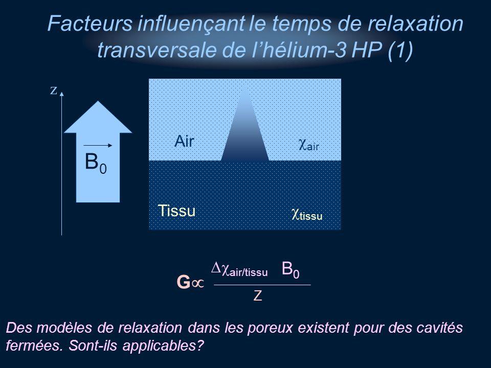 z B0B0 Tissu tissu Air air B0B0 G Z Facteurs influençant le temps de relaxation transversale de lhélium-3 HP (1) air/tissu Des modèles de relaxation d