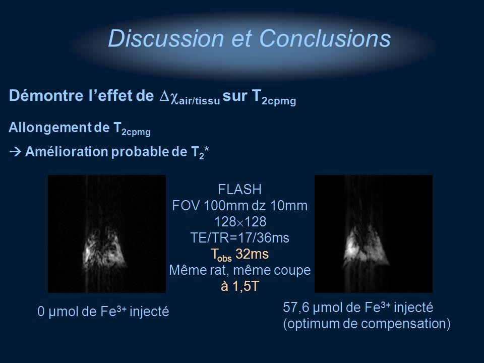 Discussion et Conclusions Démontre leffet de air/tissu sur T 2cpmg 0 µmol de Fe 3+ injecté FLASH FOV 100mm dz 10mm 128 TE/TR=17/36ms T obs 32ms Même r