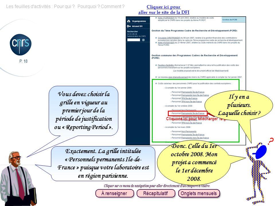 P. 18 Les feuilles d'activités : Pour qui ? Pourquoi ? Comment ? Cliquer ici pour aller sur le site de la DFI Vous devez choisir la grille en vigueur