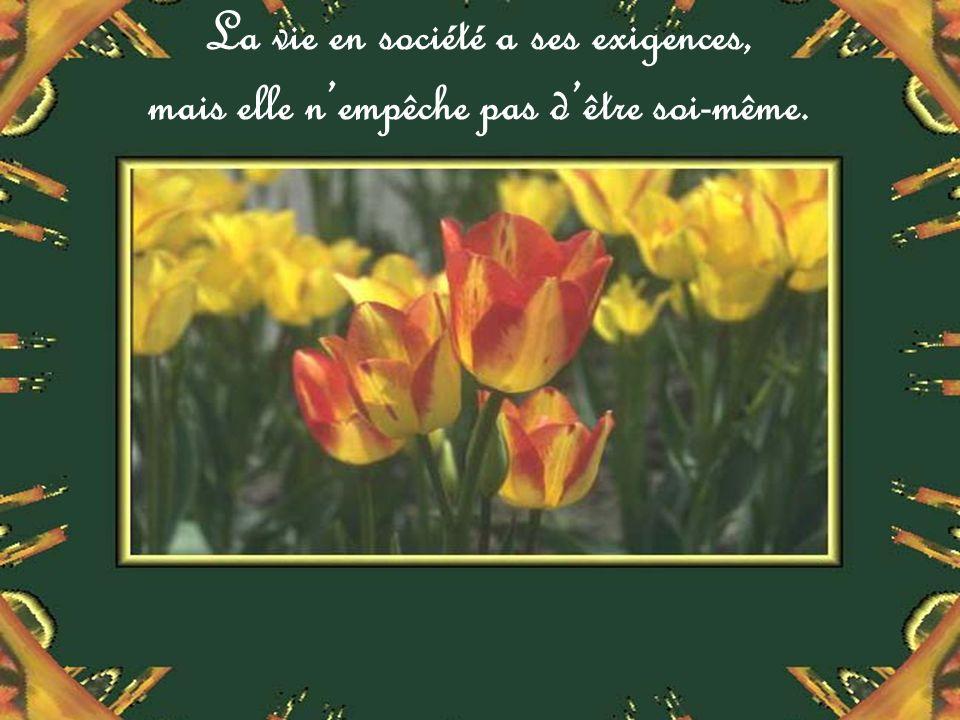La vie en société a ses exigences, mais elle nempêche pas dêtre soi-même.