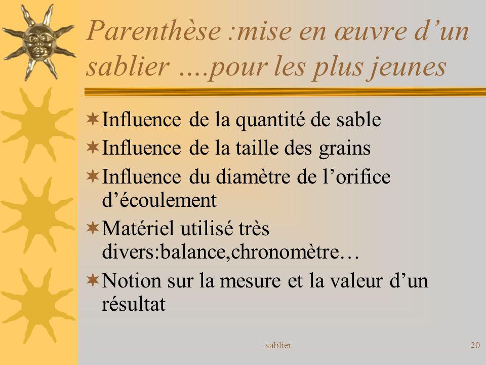 sablier20 Parenthèse :mise en œuvre dun sablier ….pour les plus jeunes Influence de la quantité de sable Influence de la taille des grains Influence d