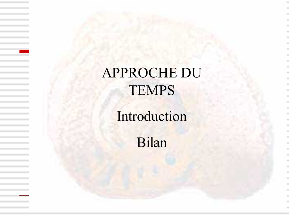 APPROCHE DU TEMPS Introduction Bilan