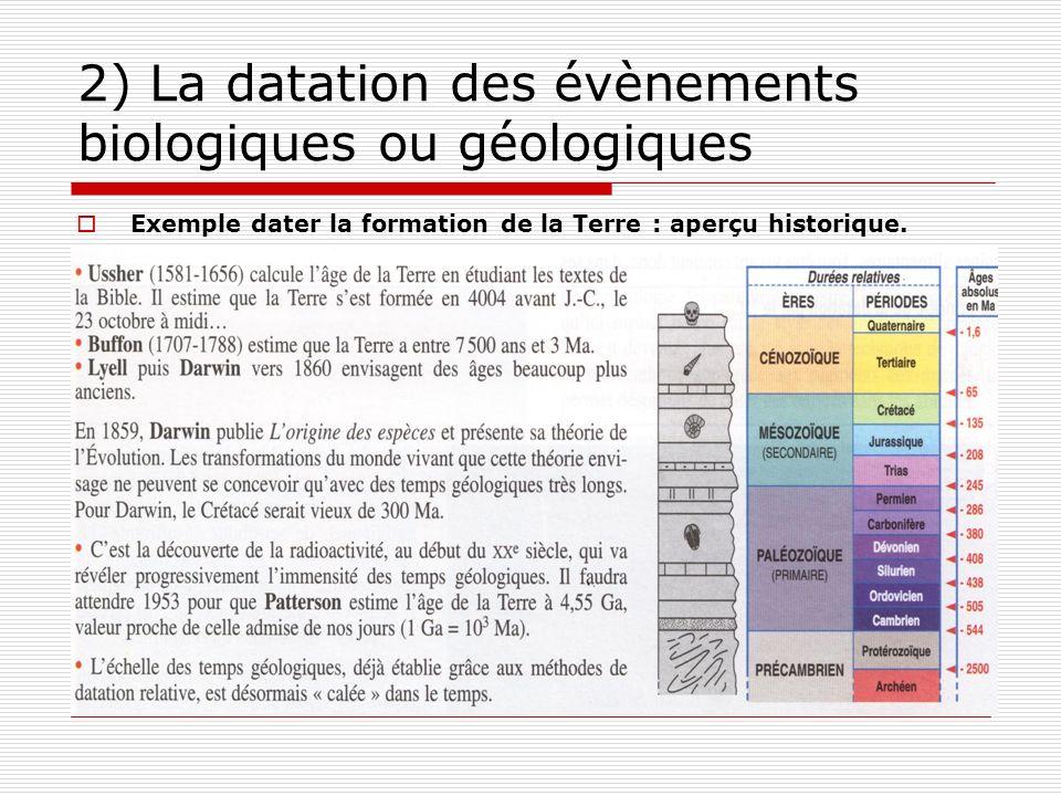 II. Dater les événements biologiques ou géologiques 1) les principaux événements géologiques et biologiques Formation du système solaire/ apparition d