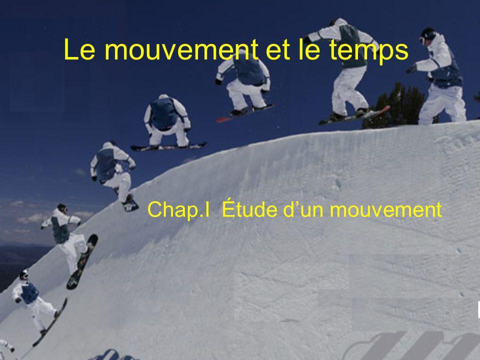 Le mouvement et le temps Chap.I Étude dun mouvement