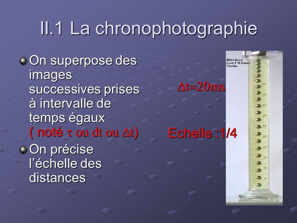 II.1 La chronophotographie On superpose des images successives prises à intervalle de temps égaux ( noté ou dt ou t ) On précise léchelle des distances t ms t ms Echelle :1/4