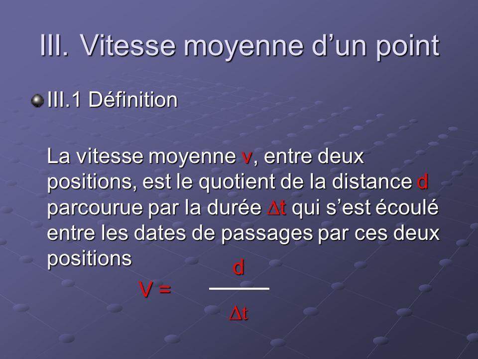 III. Vitesse moyenne dun point III.1 Définition La vitesse moyenne v, entre deux positions, est le quotient de la distance d parcourue par la durée t