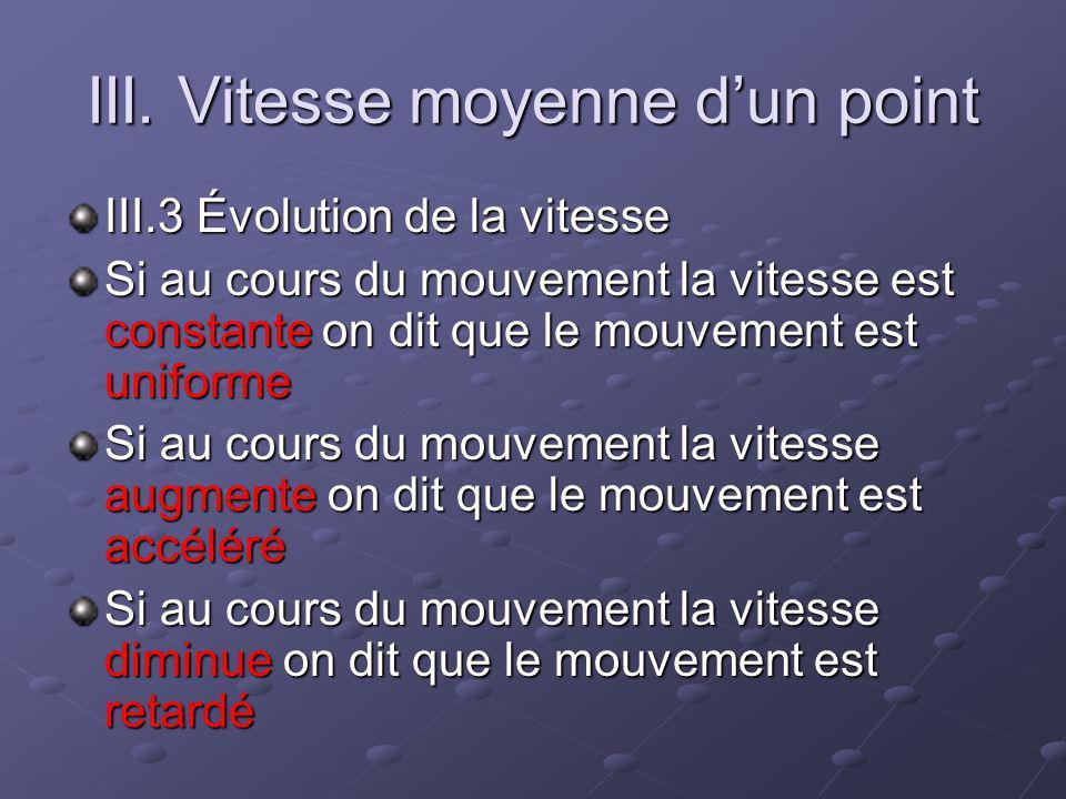 III. Vitesse moyenne dun point III.3 Évolution de la vitesse Si au cours du mouvement la vitesse est constante on dit que le mouvement est uniforme Si