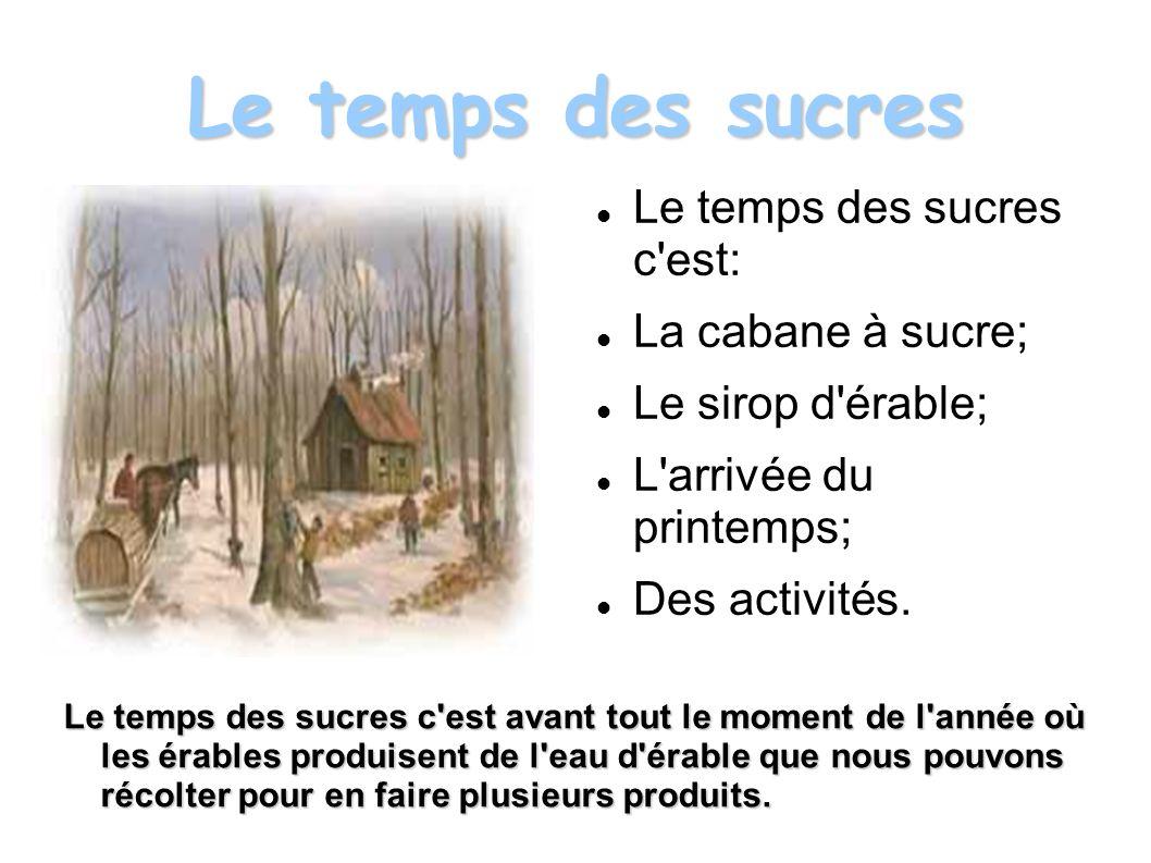 Le temps des sucres Le temps des sucres c est: La cabane à sucre; Le sirop d érable; L arrivée du printemps; Des activités.