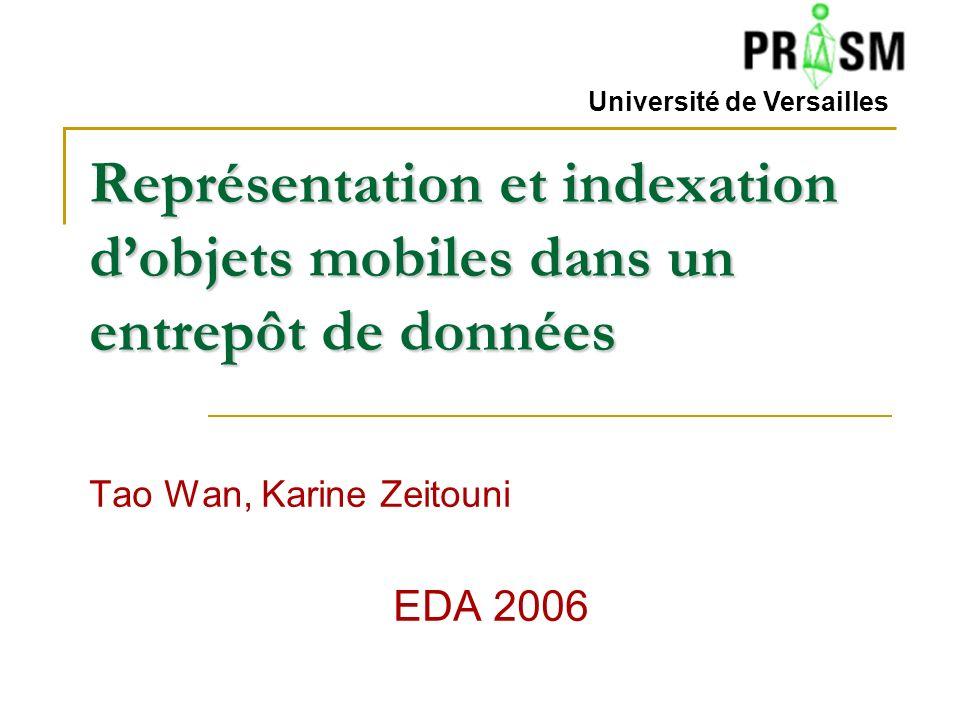 Représentation et indexation dobjets mobiles dans un entrepôt de données Tao Wan, Karine Zeitouni EDA 2006 Université de Versailles
