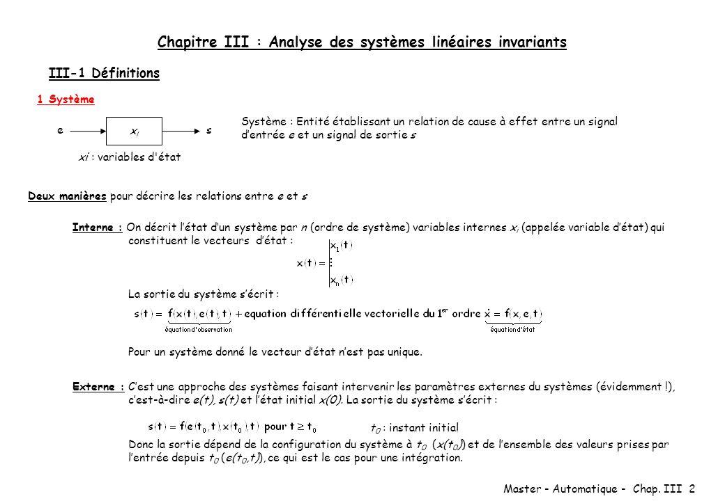 Master - Automatique - Chap. III 2 Chapitre III : Analyse des systèmes linéaires invariants III-1 Définitions 1 Système xixi e s Système : Entité étab