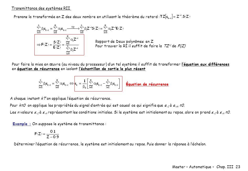 Master - Automatique - Chap. III 23 Transmittance des systèmes RII Prenons la transformée en Z des deux nombre en utilisant le théorème du retard : Ra