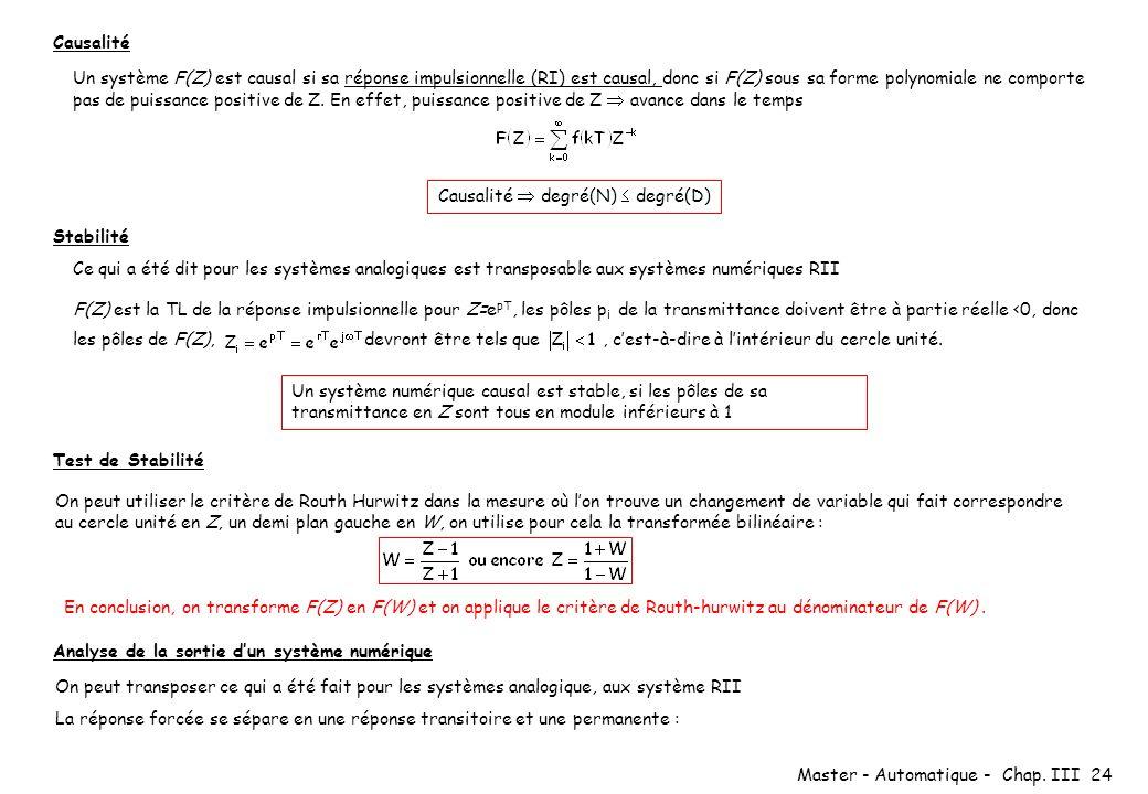Master - Automatique - Chap. III 24 Causalité Stabilité Un système F(Z) est causal si sa réponse impulsionnelle (RI) est causal, donc si F(Z) sous sa
