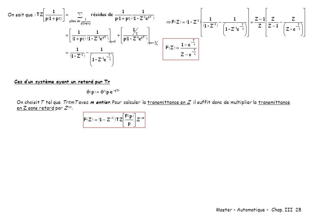 Master - Automatique - Chap. III 28 On sait que : Cas dun système ayant un retard pur Tr On choisitT tel que Tr=mT avec m entier. Pour calculer la tra