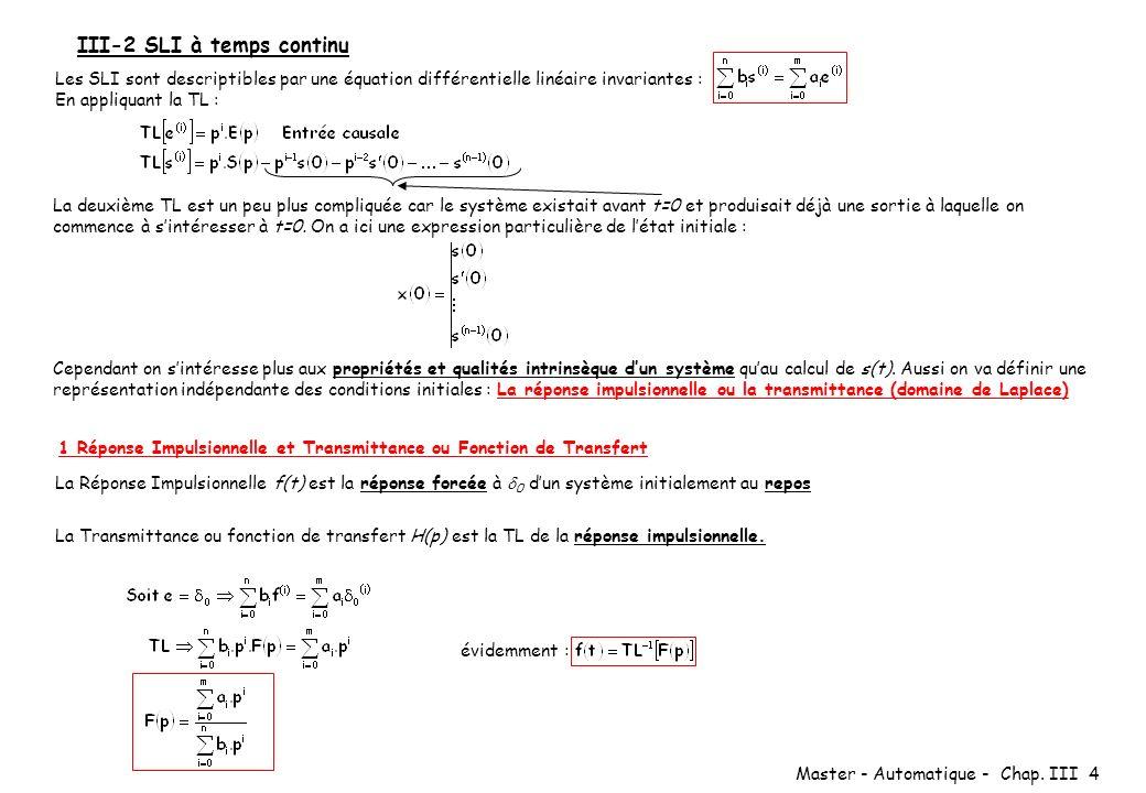 Master - Automatique - Chap. III 4 III-2 SLI à temps continu Les SLI sont descriptibles par une équation différentielle linéaire invariantes : En appl