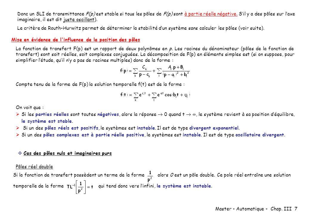 Master - Automatique - Chap. III 7 Donc un SLI de transmittance F(p) est stable si tous les pôles de F(p) sont à partie réelle négative. Sil y a des p