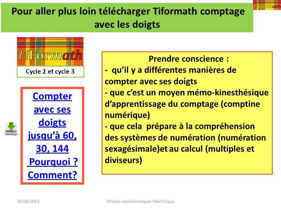 30/04/2014Misson mathématiques Martinique Pour aller plus loin télécharger Tiformath comptage avec les doigts Compter avec ses doigts jusquà 60, 30, 1