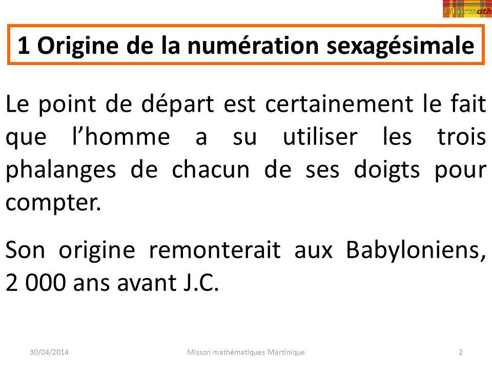 30/04/2014Misson mathématiques Martinique2 Le point de départ est certainement le fait que lhomme a su utiliser les trois phalanges de chacun de ses d
