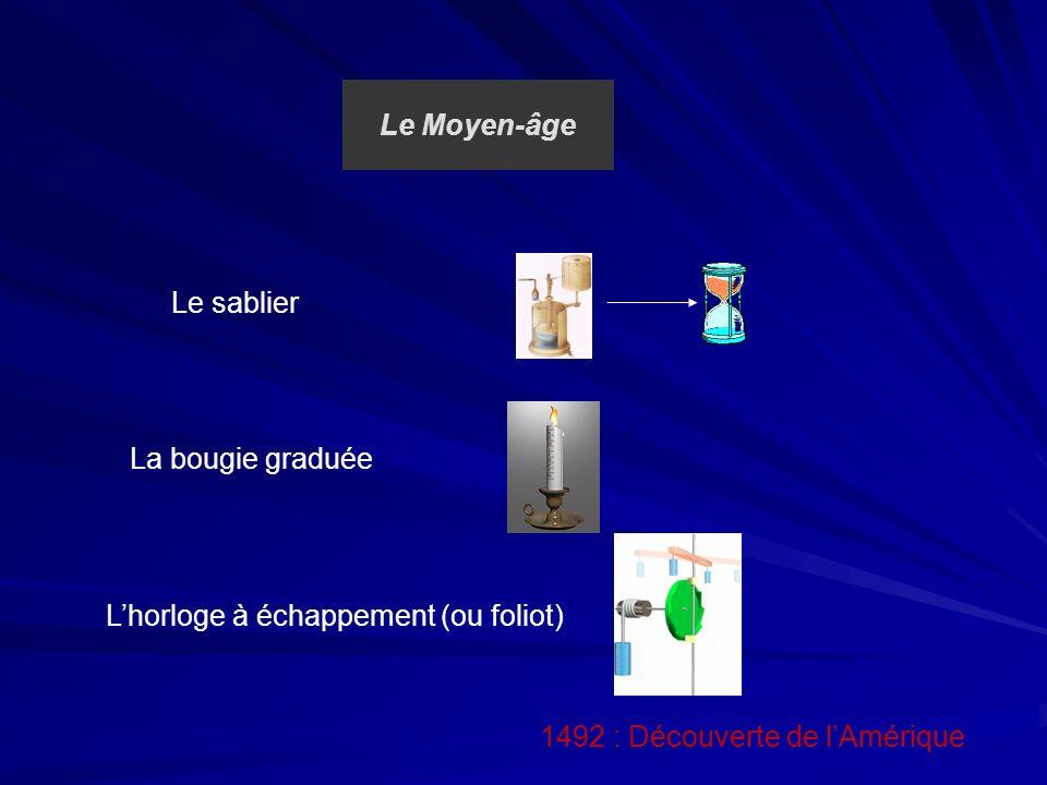 Le Moyen-âge 1492 : Découverte de lAmérique Le sablier La bougie graduée Lhorloge à échappement (ou foliot)