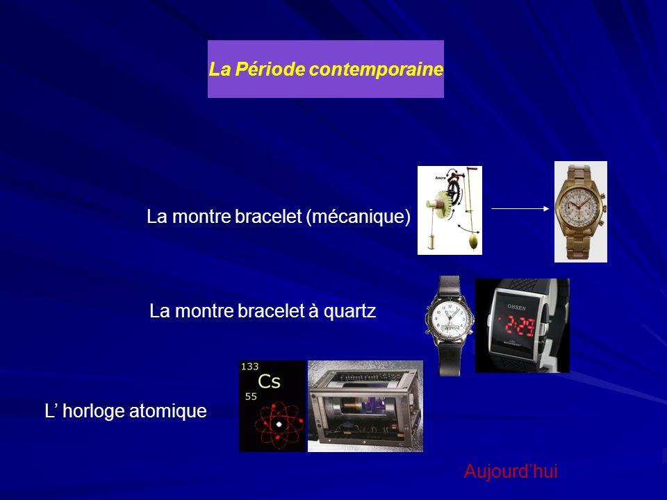 La Période contemporaine Aujourdhui La montre bracelet (mécanique) La montre bracelet à quartz L horloge atomique