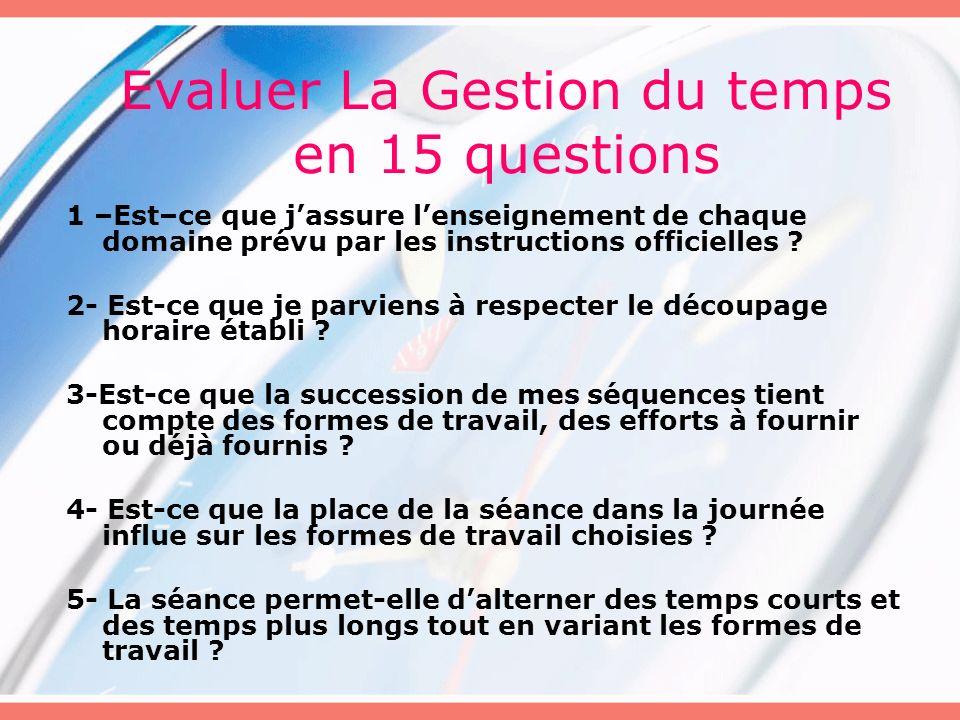 Evaluer La Gestion du temps en 15 questions 1 –Est–ce que jassure lenseignement de chaque domaine prévu par les instructions officielles ? 2- Est-ce q