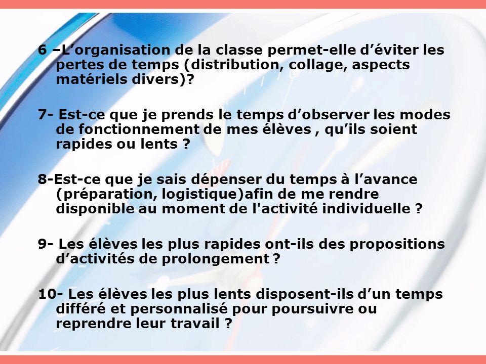 6 –Lorganisation de la classe permet-elle déviter les pertes de temps (distribution, collage, aspects matériels divers)? 7- Est-ce que je prends le te