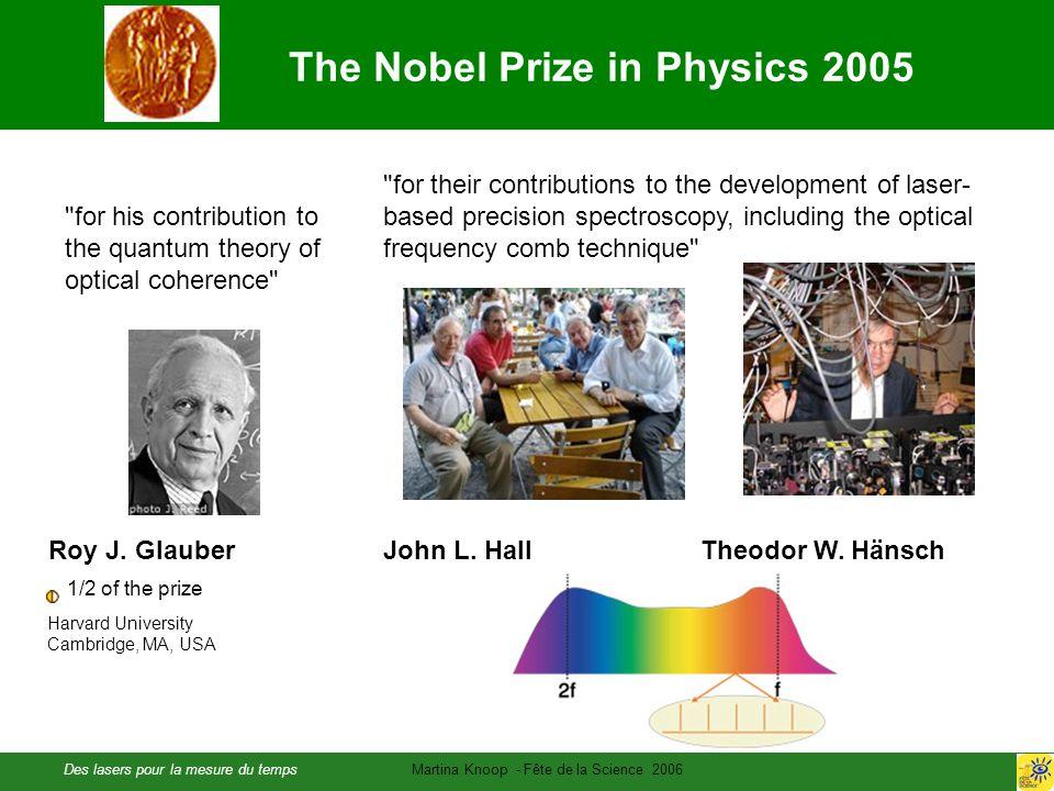 Des lasers pour la mesure du tempsMartina Knoop - Fête de la Science 2006 Roy J. GlauberJohn L. HallTheodor W. Hänsch 1/2 of the prize Harvard Univers