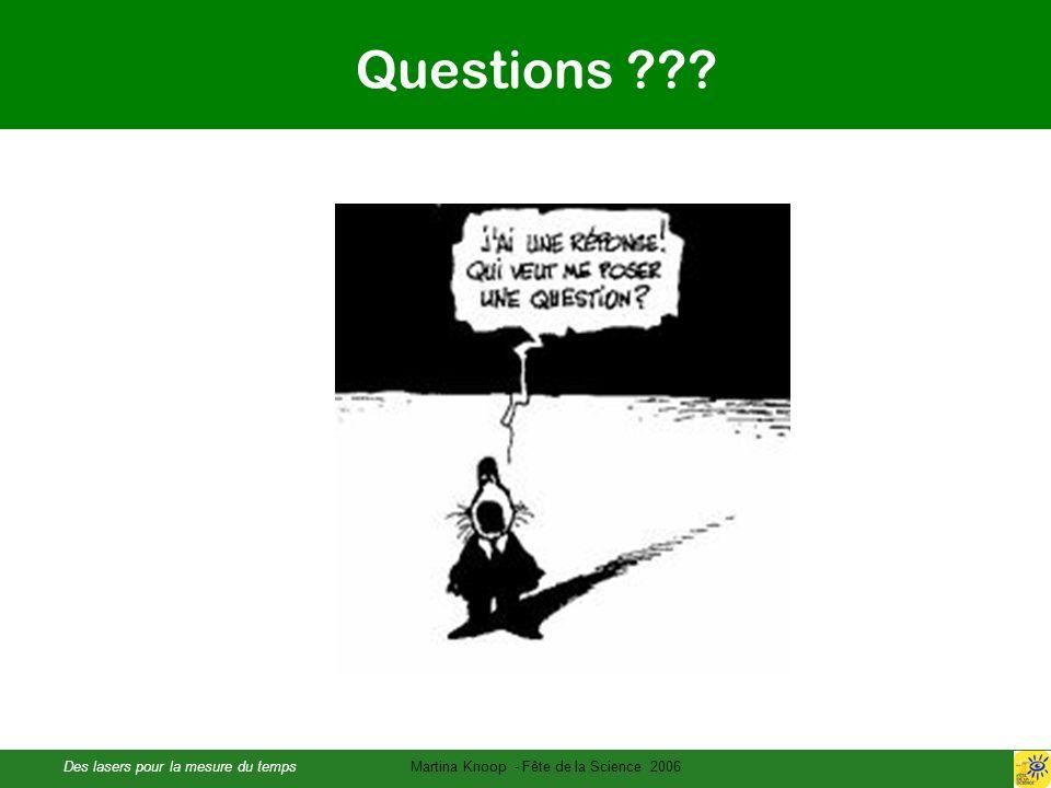 Des lasers pour la mesure du tempsMartina Knoop - Fête de la Science 2006 Questions ???