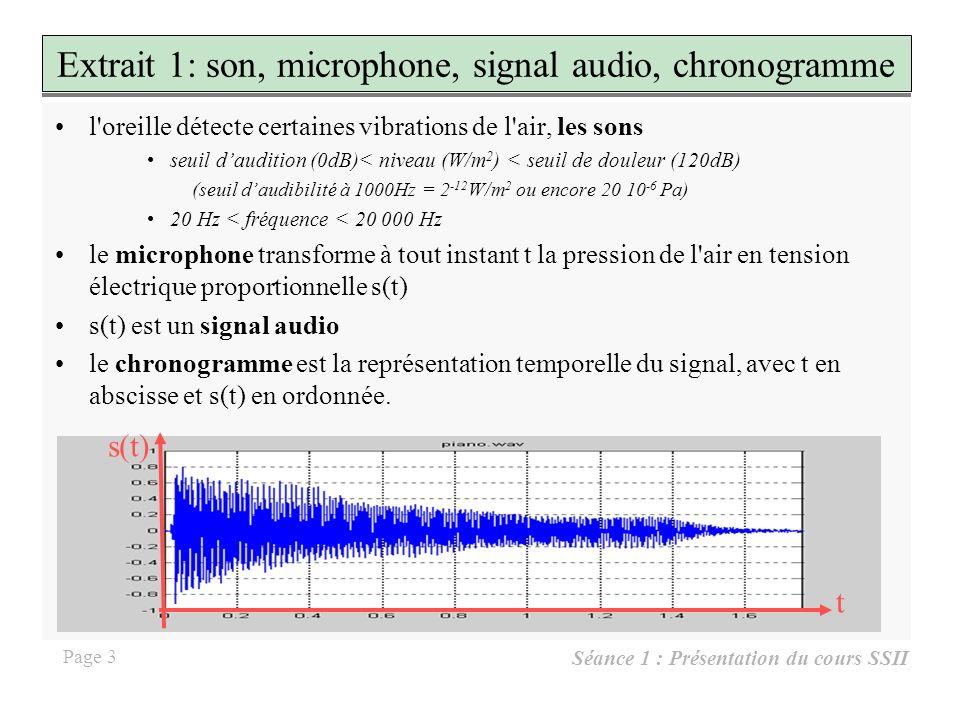 Séance 1 : Présentation du cours SSII Page 13 Extrait 10 : Filtre passe bande avec Matlab % lecture du son à filtrer [e,fe,b]=wavread ( piano.wav ); % définition du filtre R=256; % longueur du filtre fc=500; % bande passante f0=1500; % fréquence centrale N = fix(fc*R/fe); H=[ones(1,N-1),0.9,0.5,0.1,...