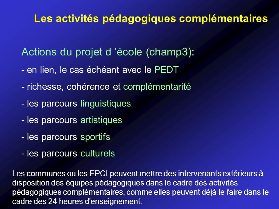 Les activités pédagogiques complémentaires Actions du projet d école (champ3): - en lien, le cas échéant avec le PEDT - richesse, cohérence et complém