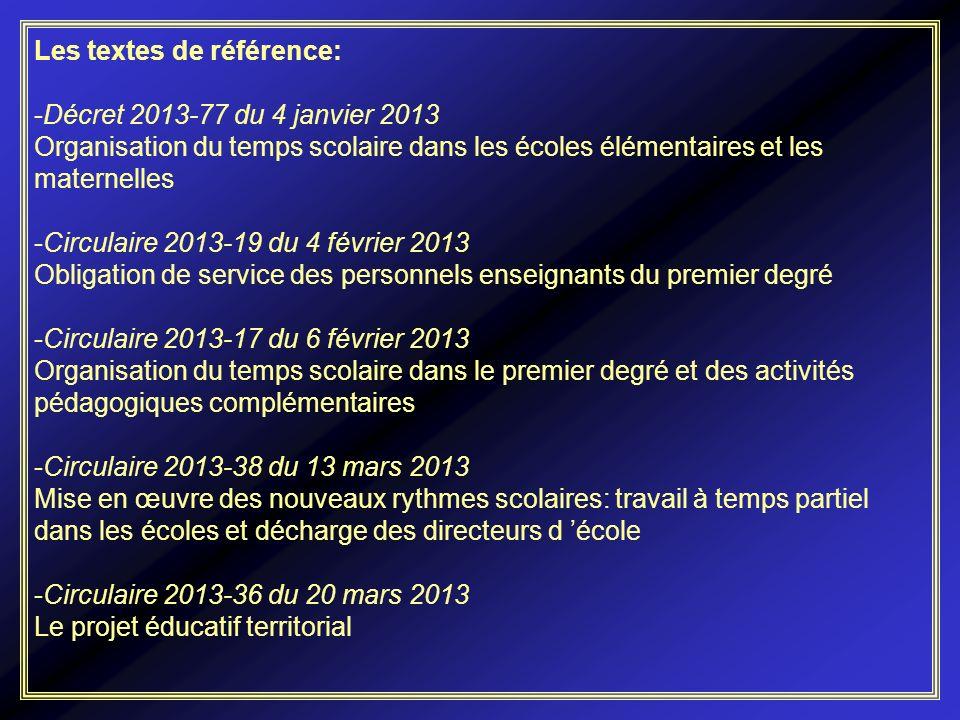Les textes de référence: -Décret 2013-77 du 4 janvier 2013 Organisation du temps scolaire dans les écoles élémentaires et les maternelles -Circulaire