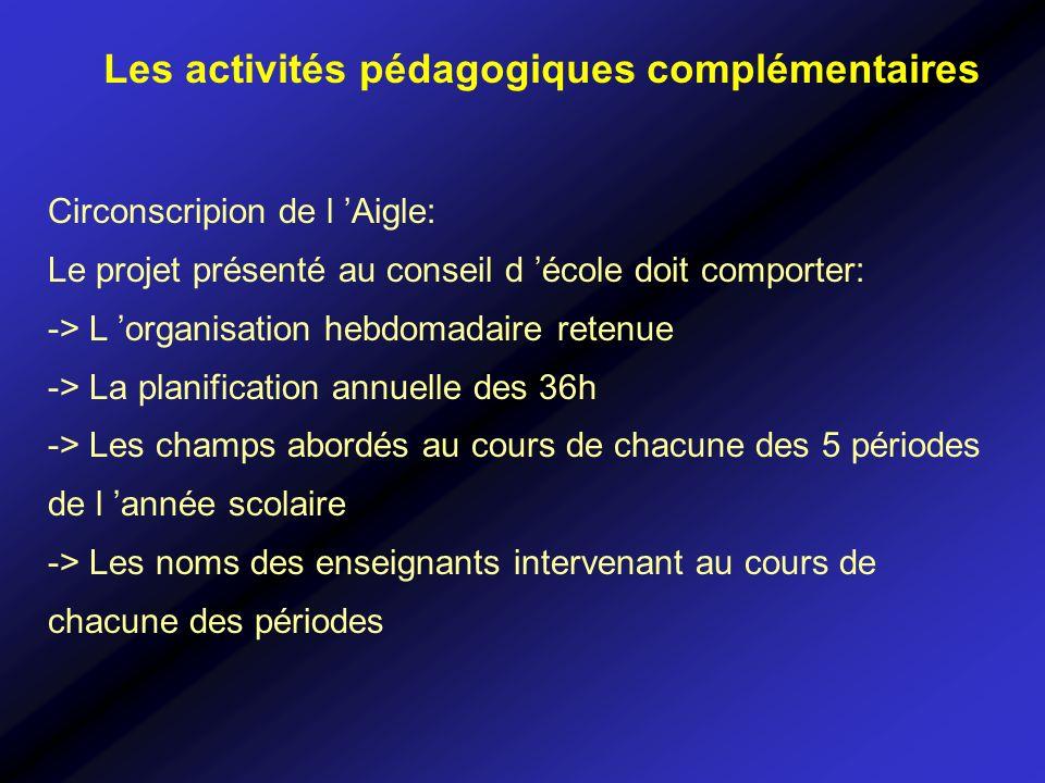 Circonscripion de l Aigle: Le projet présenté au conseil d école doit comporter: -> L organisation hebdomadaire retenue -> La planification annuelle d