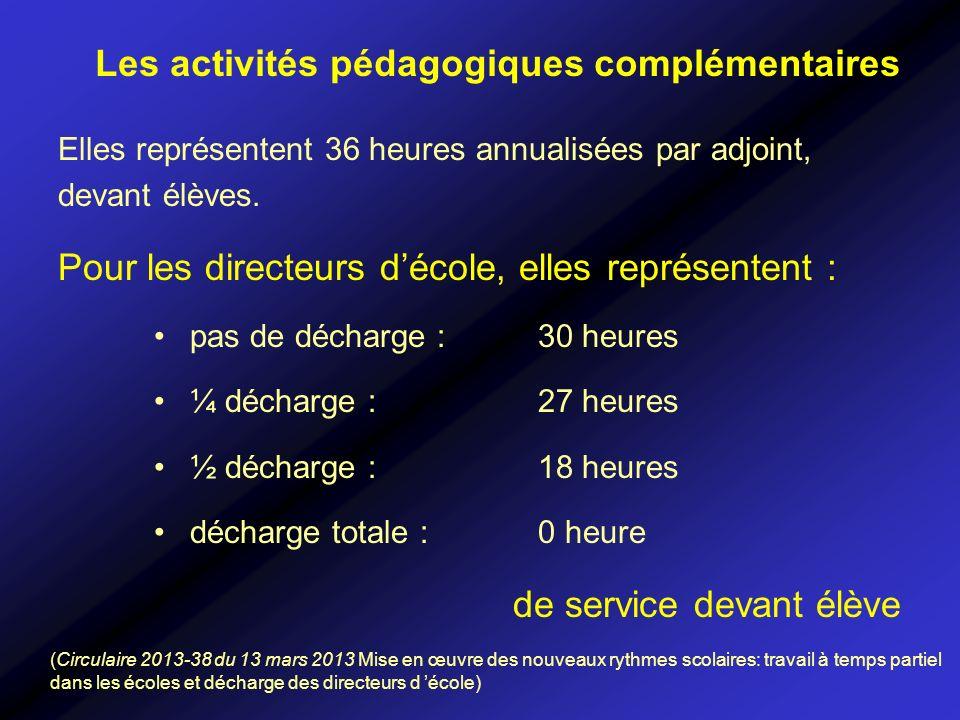 Elles représentent 36 heures annualisées par adjoint, devant élèves. Pour les directeurs décole, elles représentent : pas de décharge : 30 heures ¼ dé