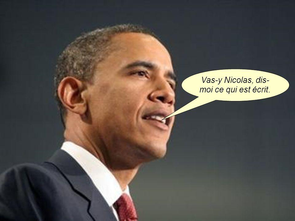 La machine vibre, sonne, se met en fonction. Sarkozy prend le résultat imprimé…