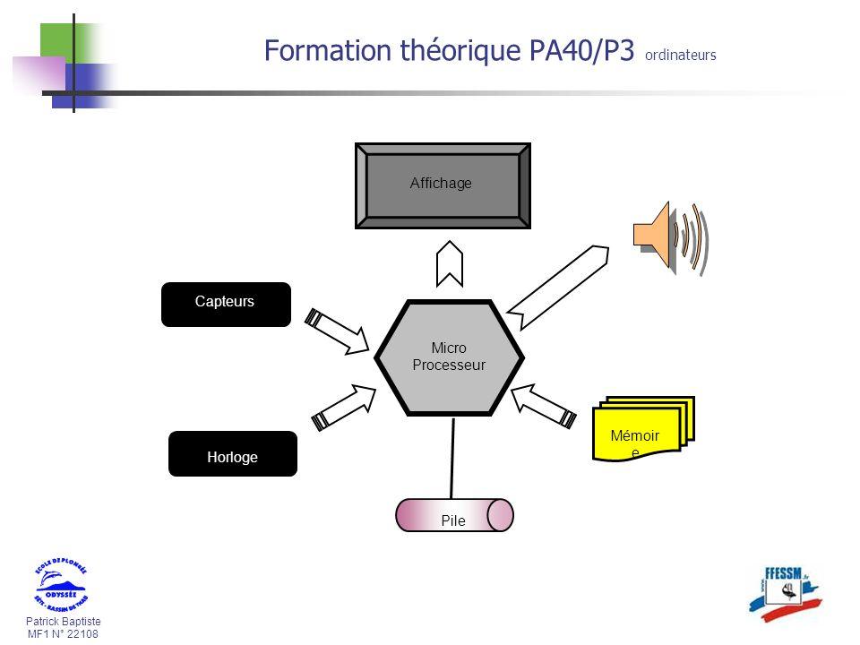 Patrick Baptiste MF1 N° 22108 Formation théorique PA40/P3 ordinateurs Micro Processeur Pile Capteurs Horloge Mémoir e Affichage