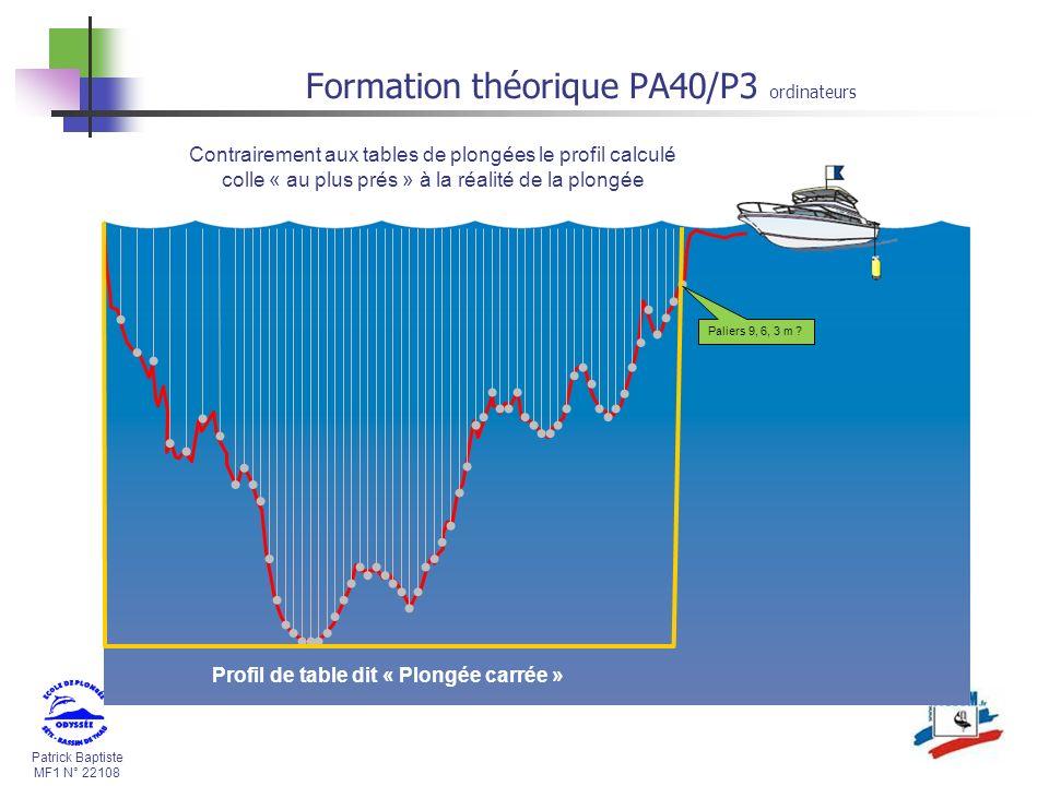 Patrick Baptiste MF1 N° 22108 Formation théorique PA40/P3 ordinateurs Contrairement aux tables de plongées le profil calculé colle « au plus prés » à la réalité de la plongée Profil de table dit « Plongée carrée » Paliers 9, 6, 3 m ?