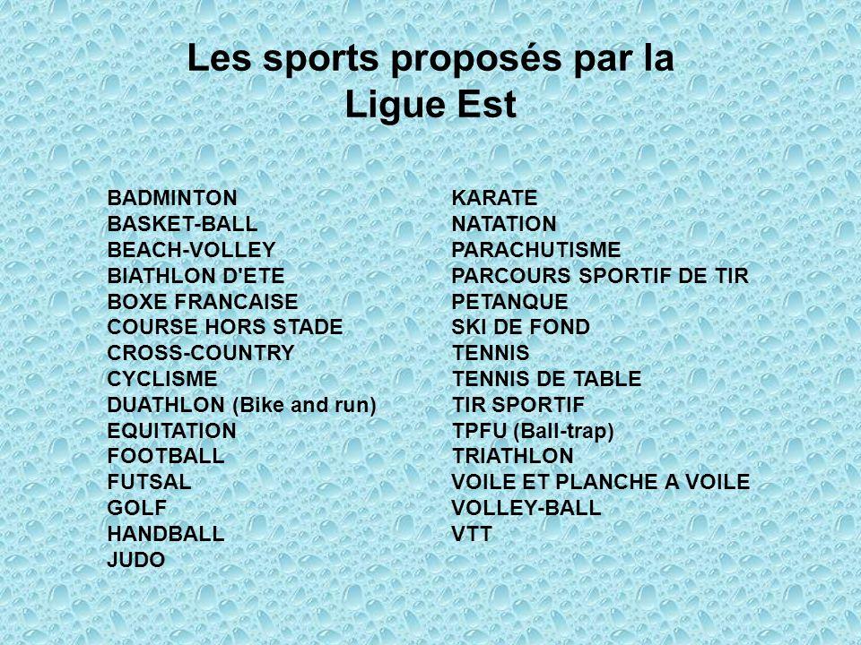 Les sports proposés par la Ligue Est BADMINTONKARATE BASKET-BALLNATATION BEACH-VOLLEYPARACHUTISME BIATHLON D'ETEPARCOURS SPORTIF DE TIR BOXE FRANCAISE