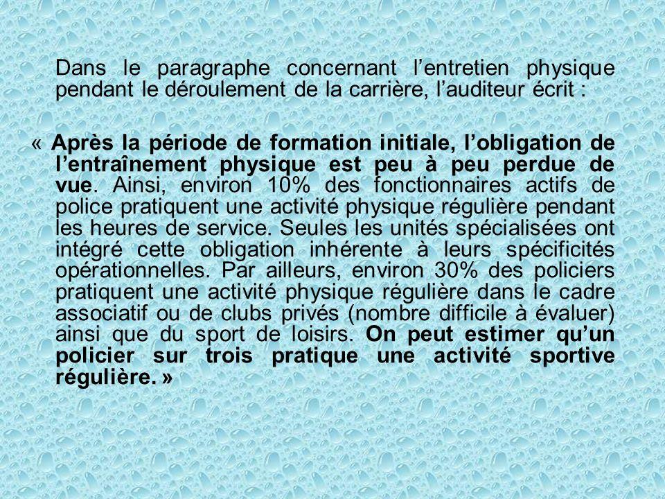 Par cette instruction, la Fédération Sportive de la Police Française propose une alternative à cette sous pratique sportive des policiers INSTRUCTION SUR LA PRATIQUE DES ACTIVITES PHYSIQUES ET DES COMPETITIONS SPORTIVES DE LA POLICE NATIONALE DANS LE CADRE ASSOCIATIF NOR INT K 92 00100 C du 18 MARS 1992 Philippe MARCHAND Ministre de lIntérieur